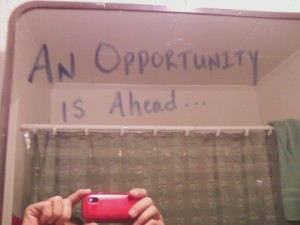 My bathroom mirror message.